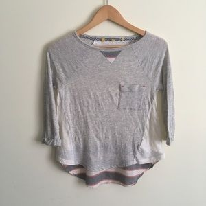 Anthropologie | Little Yellow Button Grey Top XSP
